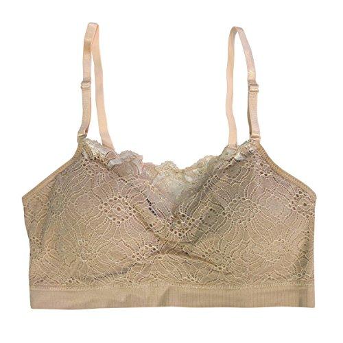 Lace Bra Ruffled (Coobie Seamless Lace Coverage Bra, Light Nude)
