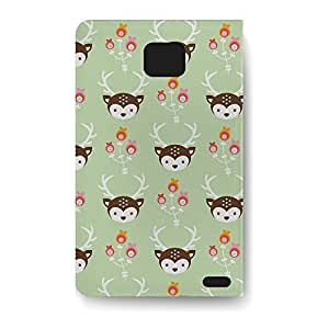 Leather Folio Phone Case For Samsung Galaxy S2 Leather Folio - Oh Deer! Pastel Green Flip Lightweight