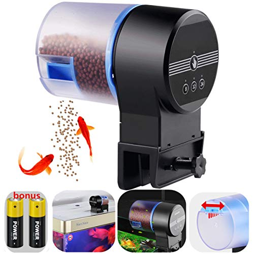 Automatic Fish Feeder Aquarium Tank Timer Feeder Vacation Auto Fish Feeder for Flakes Electric Automatic Turtle/Gold Fish for Weekend or Holiday with 2 Fish Food Dispensers ()