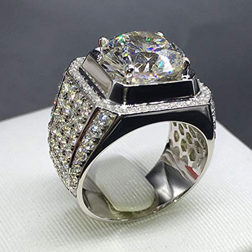 Men's Flashy Hip Hop Wedding Rings | with White Round Cubic Center Stone Surrounded by White Cubic Stones