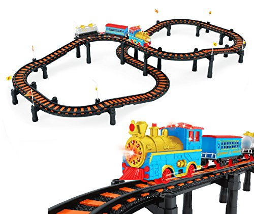 - Deluxe Classic Electric Train Model Toy Set with 3 Cars and 12 Feet of Tracks (Lights & Realistic Sounds)