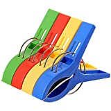 """MYLIFEUNIT Set of 4 Beach Towel Clips in Fun Bright Colors - Jumbo Size(5"""") - Keep Your Towel From Blowing Away Clothesline"""