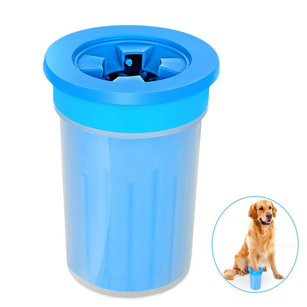 QZY Pet Dog Foot Cup Brush Washing Artifact,Cat Cleaning Tool Soft Plastic Claw Foot Cleaning Cup,Durable Playable Bite, Pet Toy,Anti-Fall-Side Wall-Leakage,Blue,M