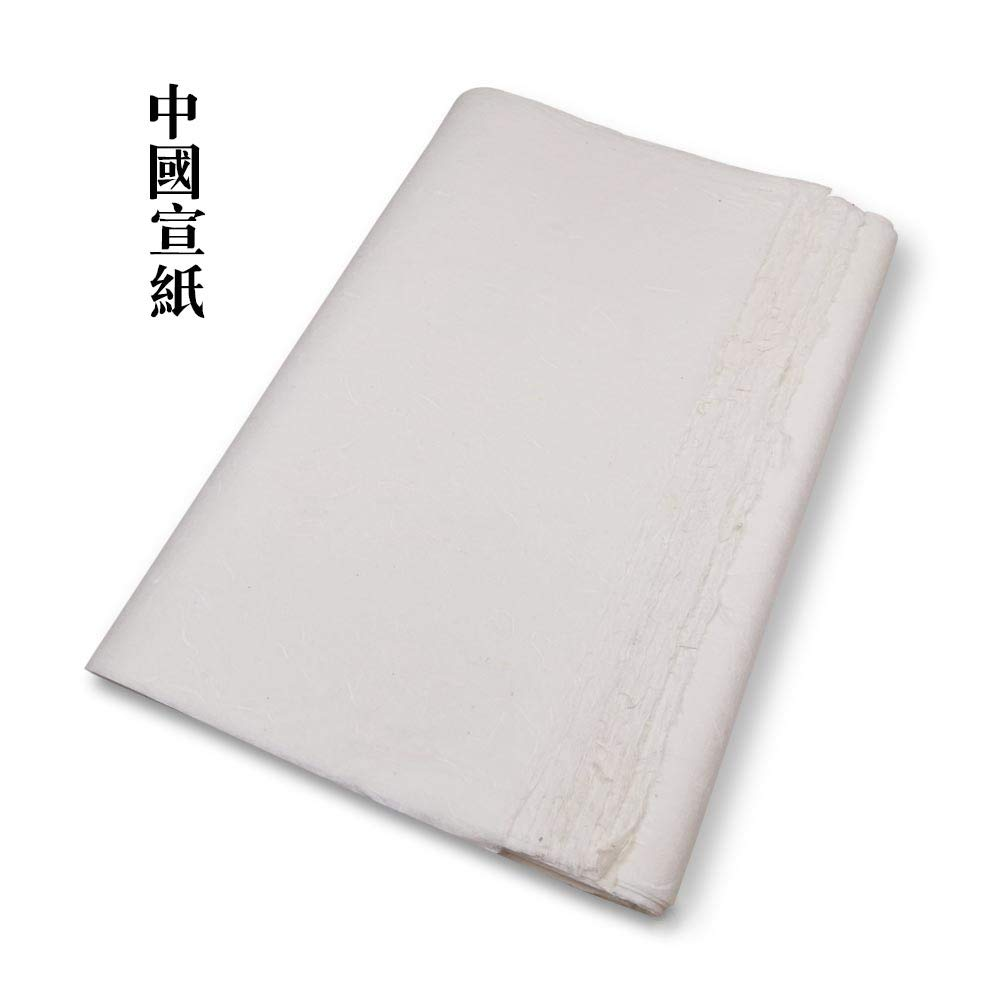 QJang Featured Handmade Rice Paper Half Ripe Xuan Paper Yunlong Paper Mulberry Paper White with Long Plant Fibre for Ink Brush Artworks Kanji Writing Watercolor Painting Practice by QJang