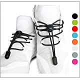quick draw tie down - HILELIFE No Tie Shoelaces: Elastic Quick Shoe Lacing Replacement System Reflective String with Locks for Kids and Adults - Good for Running, Hiking & Other Sports (Black)