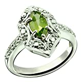 RB Gems Sterling Silver 925 Ring GENUINE GEMSTONE Marquise Shape 0.70 Carat with Rhodium-Plated Finish (9, peridot)