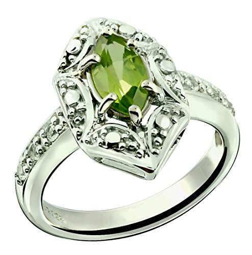 Ring Peridot Stone Genuine (RB Gems Sterling Silver 925 Ring GENUINE GEMSTONE Marquise Shape 0.70 Carat with Rhodium-Plated Finish (9, peridot))