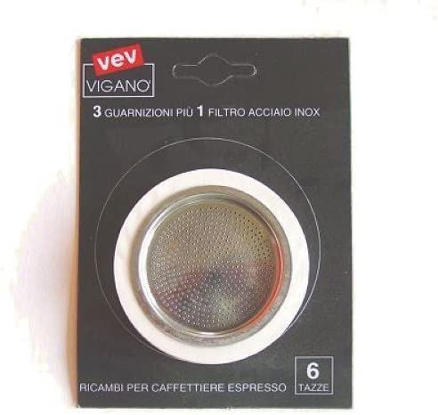 Packing 3 gaskets and 1 filter stainless steel for coffee pot 6 by Vev Vigano: Amazon.es: Hogar
