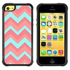 Suave TPU GEL Carcasa Funda Silicona Blando Estuche Caso de protección (para) Apple Iphone 5C / CECELL Phone case / / Teal Pink Pattern Zig Zig /