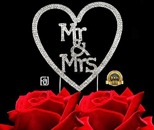 Mr&Mrs in a Heart, Wedding, Anniversary, Bridal Shower Cake Toppers, Crystal Rhinestones on Silver Metal, Party Decorations