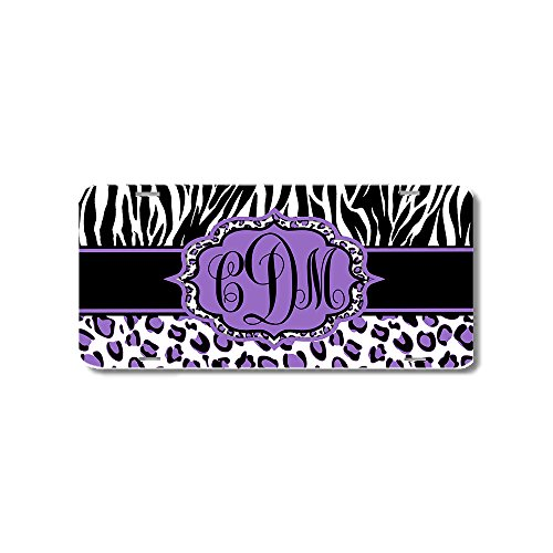 Leopard Purple Zebra Print Monogrammed Personalized Custom Initials License Plate Car -