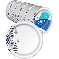 "Dixie Everyday Paper Plates,10 1/16"" Plate, 220 Count, Amazon Exclusive Design, 5 Packs of 44 Plates, Dinner Size Printed Disposable Plates"