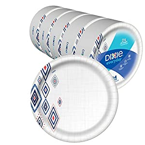 Dixie Everyday Paper Plates,10 1/16″ Plate, Amazon Exclusive Design, Dinner Size Printed Disposable Plates, (5 Pack of 44 Plates), 220 Count