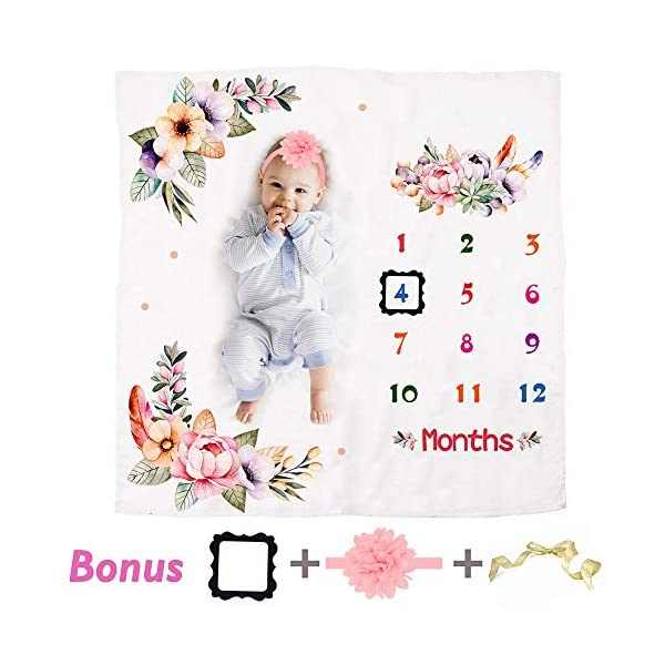 HIGO Baby Milestone Blanket Girl, 100% Organic Soft Fleece Month Blanket Photography Backdrop Photo Prop with Picture Frame and Flower Headband (Design-1)