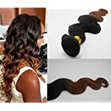 Romantic Angels® 18''(45cm) Tissage Bresiliens Ondules Body Wave Cheveux Vierges 1 Bundle Lot 100g Couleur#1b/30
