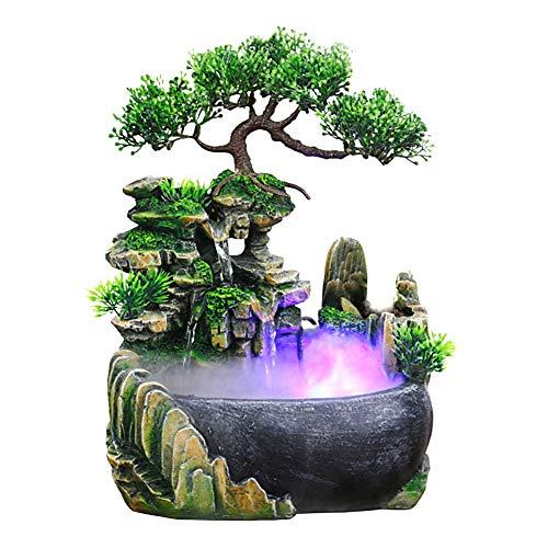 Jeffergarden Decoracion de Oficina Fuente Interior Cascada Fuente de Agua de Mesa LED Funcion de Uso Interior y Exterior
