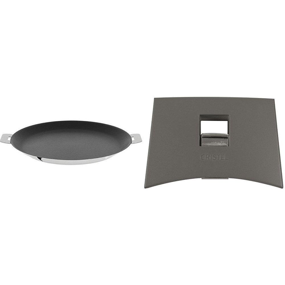 Cristel CR30QE Non-Stick Crepe Pan, Silver, 12'' with Cristel Mutine Plmag Side Handle, Grey