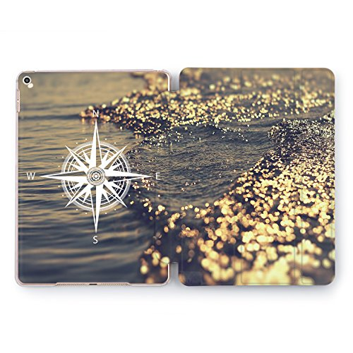 Wonder Wild Ocean Travel iPad 5th 6th Generation Mini 1 2 3 4 Air 2 Pro 10.5 12.9 2018 2017 9.7 inch Trip Design Smart Plastic Cover Compass Line Sea Voyage Print Case Journey Luxury Gold World Map Na