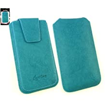 Emartbuy® Classic Range Blue Luxury PU Leather Slide in Pouch Case Cover Sleeve Holder ( Size 5XL ) With Magnetic Flap & Pull Tab Mechanism Suitable For Polaroid Link A6 6 Inch Smartphone