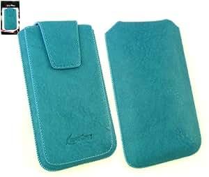 Emartbuy® Classic Range Lujo Azul Pu De Cuero Slide En Pouch / Case / Manga / Titular (Tamaño 3Xl) Con Magnético De La Aleta & Pull Tab Mecanismo Adecuada Para HTC Sensation XL