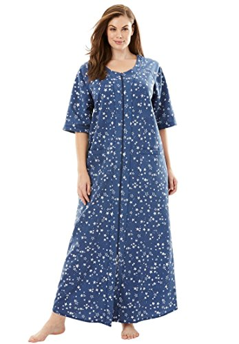 Dreams & Co. Women's Plus Size Long French Terry Robe Royal Navy Stars,3X (Front Zip Lounger)