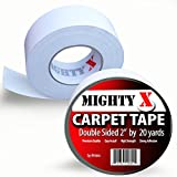 "Mighty ""X"" Carpet Tape - Double Sided - 60 Feet x 2 Inches - Extra Thick - 20 Yards of Heavy Duty Tape - by iPrimio"