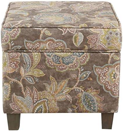 Grey Floral Ottoman 17 Inch