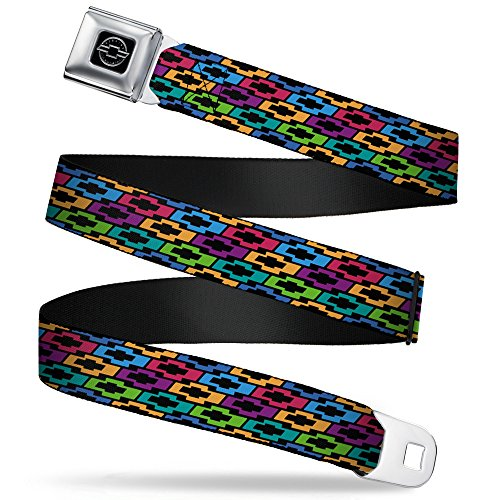 Buckle-Down Seatbelt Belt - Chevy Bowties 5-Row Black/Multi Color - 1.0
