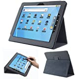 Fosmon OPUS Series Leather Folio Stand Case With Stand for with Le Pan I & II, Le pan S 9.7-Inch Tablets (Black)