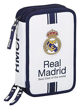 Real Madrid- Plumier Triple 41 Piezas, 1ª equipacion Temporada 2016/2017 (SAFTA 411654057), Color Blanco (
