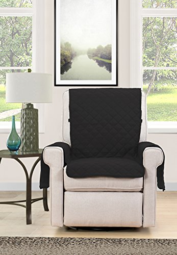 Blissful Living Reversible Non-Slip Couch Cover - Perfect Slipcover to Protect your Furniture from Pets and Kids, Elastic Strap to secure Fit on Couches, Loveseats, & Chairs (Black/Brown, Chair)