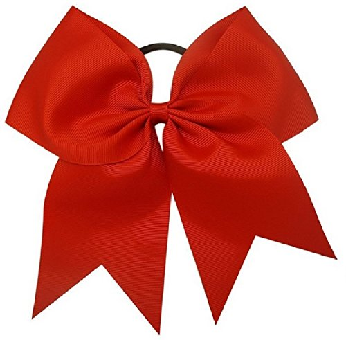 Kenz Laurenz Cheer Bows Red Cheerleading Softball - Gifts Girls Women Team Bow Ponytail Holder Complete Your Cheerleader Outfit Uniform Strong Hair Ties Bands Elastics (3)