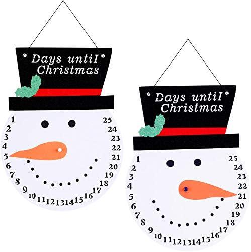 [해외]Gejoy 2 Pieces Christmas Snowman Advent Calendar Countdown Outdoor Wall Calendars Christmas Ornaments for Xmas Door Decoration Days Until Christmas Countdown / Gejoy 2 Pieces Christmas Snowman Advent Calendar Countdown Outdoor Wall...