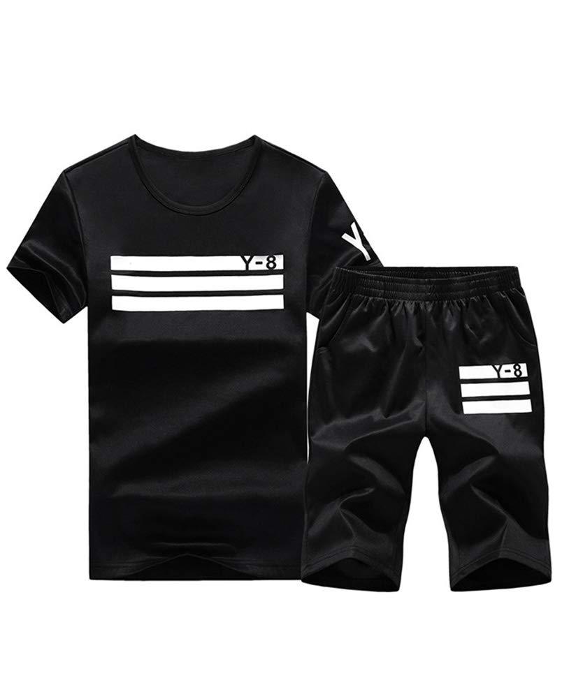 Lavnis Men's Casual Tracksuit Short Sleeve Running Jogging Athletic Sports Set Black L by Lavnis
