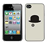 LASTONE PHONE CASE / Slim Protector Hard Shell Cover Case for Apple Iphone 4 / 4S / Cool Hat Grey Clever Minimalist Black