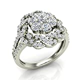 1.40 ct tw Braided Halo Split Shank with Illusion Solitaire Cluster Ring 18K Gold (G,VS)