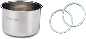 Instant Pot Stainless Steel Inner Cooking Pot - 6 Quart & Genuine Instant Pot Sealing Ring 2 Pack Clear 5 or 6 Quart