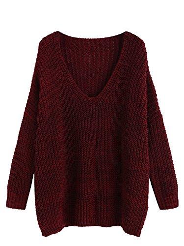 Romwe Women's Basic Long Sleeve V-Neck Knit Loose Casual Oversized Sweater Burgundy One-Size