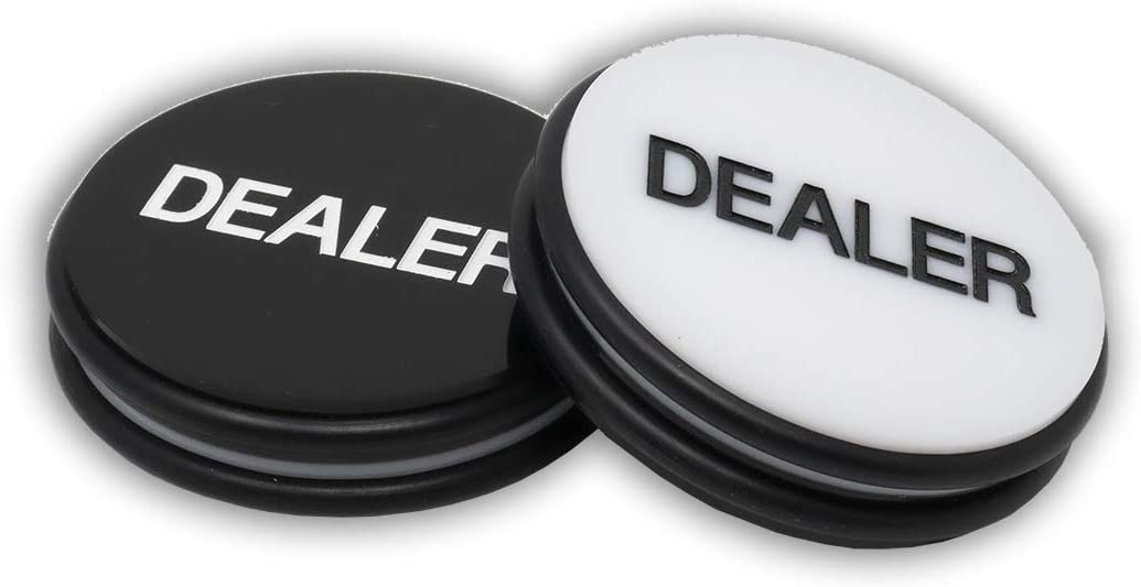 Brybelly Double Sided Black Copag Poker Dealer Button Comes with 2 Free Blind Buttons!