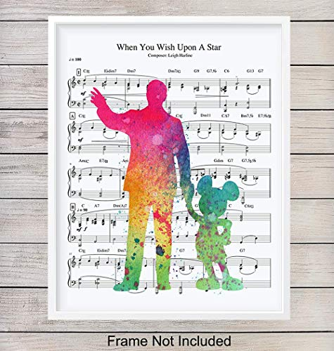 - Mickey Mouse Walt Disney Music Art Print, Wall Art Poster - Chic Home Decor for Bedroom, Bathroom, Nursery, Girls, Boys, Kids, Baby Room - Gift for Disney World, Disneyland Fans, 8x10 Photo Unframed