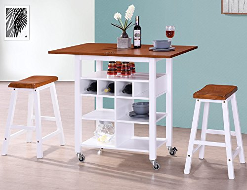 Harper&Bright Designs Phoenix Series Dining Room 3-Piece Table Stool Set with Storage Shelves, Folding Table Top and 2 Locking Castors (Oak and (Classic Series Folding Table)