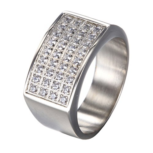 PAMTIER Men's Stainless Steel Iced Out Micro CZ Pave Hip Hop Ring DJ Raper Bling Silver Size 7