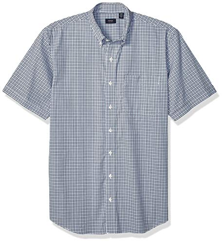 Arrow 1851 Men's Big and Tall Hamilton Poplins Short Sleeve Button Down Plaid Shirt, Chambray Blue, X-Large