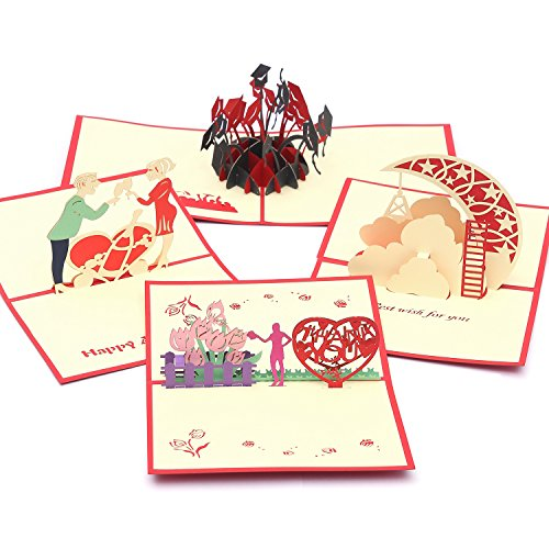 Handmade Pop Up Cards 3D Greeting Cards Bulk Set,4 Assorted Family Pack for Thanksgiving, Congratulations, Wedding, Anniversary, Best Wishes, Graduation