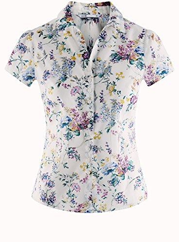 Blouse Blanc oodji Lger Femme Tissu Imprime en Collection 1019f 11wf0q