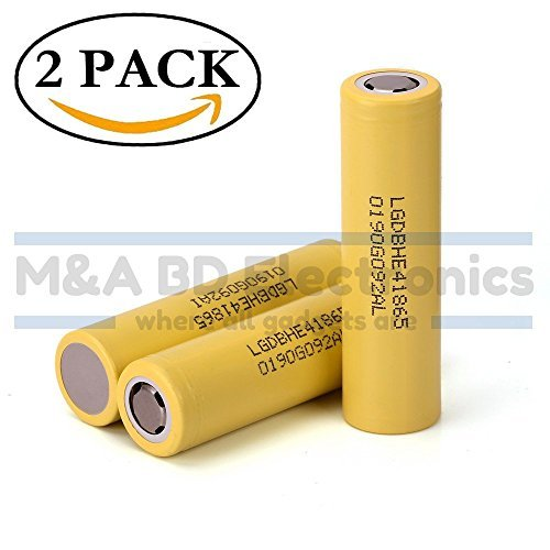 LG IMR18650 HE4 High Drain Li-ion 3.7V 20A 2500mAh Rechargeable Flat Top Battery, (2 Pcs) by M&A BD Electronics by M&A BD Electronics (Image #1)