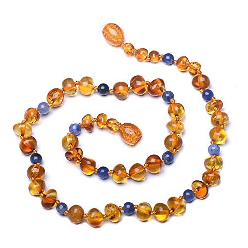Genuine Amber - Baby Unisex Teething Necklace - 100% Natural Baltic Amber Polished Amber Beads - Natural Analgesic - Knotted Between Beads - With Plastic Screw Clasp (12.6 inches, MixSodalite) ()