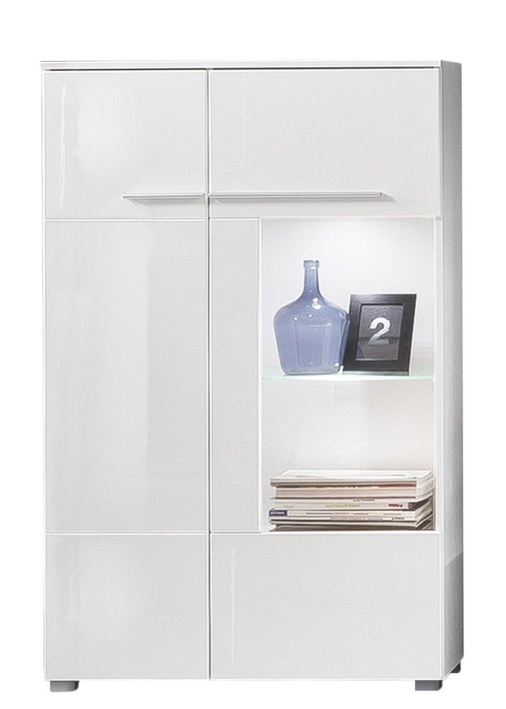 trendteam vis03801 vitrine wohnzimmerschrank wei hochglanz bxhxt 80 x 135 x 35 cm amazonde kche haushalt - Wohnzimmerschranke Weis