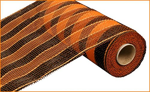10 inch x 30 feet Deco Poly Mesh Ribbon - Black and Orange Striped Mesh