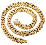 Halukakah Bling  Men's 18k Real Gold Plated Dense Diamond Set Big Cuban Chain Necklace 30'(75cm) with Free...